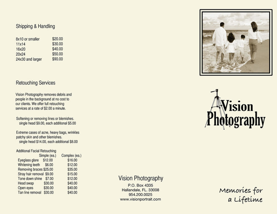 vision pricing list